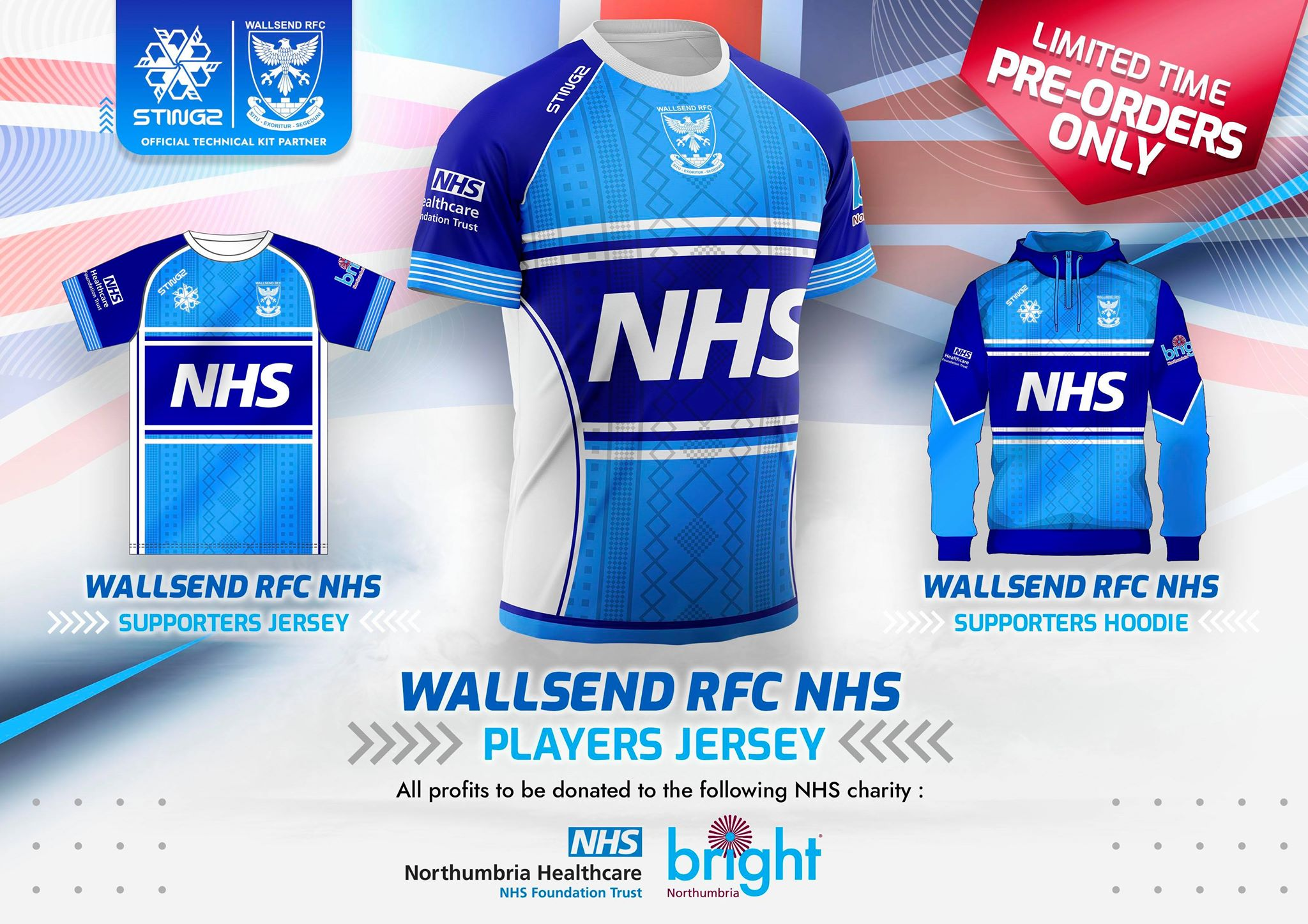 Wallsend Rugby Club are extremely proud to announce the launch of our  limited edition NHS kit range